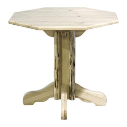 Montana Woodworks - 45 in. Handcrafted Pub Table - Octagon shape. Lodge pole pine accents. Skip peeled by hand using old fashioned draw knives. Heirloom quality. Edge glued panels. Made from U.S. solid grown wood. Lacquered finish. Made in U.S.A.. Assembly required. 45 in. L x 45 in. W x 40 in. H (59 lbs.). Warranty. Use and Care InstructionsEach piece signed by the artisan who makes it.