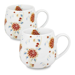 Konitz - Set of 2 Snuggle Mugs Beautiful She Says - The 'Beautiful She Says' Snuggle Mugs feature a delicate floral pattern of blue and orange on a glossy white base. Special floral design in raised relief print extends from outside to inside. Comfortably cup your hands around this mug's rounded shape.