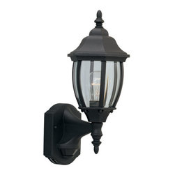 """Designers Fountain - Designers Fountain 2420MD-BK 1 Light 6.5"""" Wall Lantern with Motion Detector - Features:"""