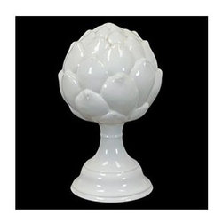 Urban Trends Collection - 9.5 in. Small Ceramic Artichoke on Stand - 6 in. W x 8.5 in. L x 9.5 in. H
