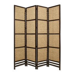 Screen Gems - Screen Gems Braided Rope Screen Four Panels - Braided Rope 4 Panel Floor Screen is made of sea grass in a woven design and hardwood frame with slates on the bottom of panels. Finished the same on both sides.