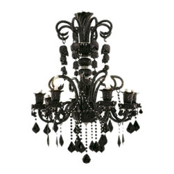 Glamorous Black Crystal Chandelier - This beautiful glass-armed black chandelier is patterned after classic designs from the Victorian era. Features gracefully contoured glass arms & detailed-rich glass center columns and bobeches. Premium black crystal draping has a 30% lead content, and creates a monochromatic look against the black glass body. This delicately beautiful crystal chandelier is perfect for that dramatic and romantic touch to your decor. Also offered in clear or gold finishes with various premium crystal options.