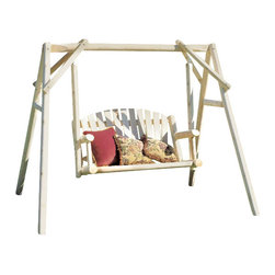 "Rustic Cedar - American Cedar 4 Foot Garden Swing - The 4' Cedar American Garden Swing displays an appealing light finish that highlights the natural beauty of durable Cedar wood.  This sturdy garden swing comes complete with stand and hardware, and will add charm to any yard or garden setting!  You'd expect to pay far more for this cottage fresh garden swing set crafted in cedar.  Set includes the high-back swing with cozy slat back styling and four-feet of seating comfort, plus the matching A-shaped frame.  Refreshing light cedar finish is ideal for active outdoor living. * Ships in 2 packages. Pillows Not Included. Picnic Set Not Included. 66"" x 88"". Weight: 100lbs."
