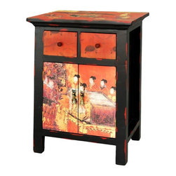 Oriental Furniture - Flying Emperor End Table - A beautiful rust colored nightstand, end table, or lamp table, with lovely oriental accents. Solidly crafted with a cantilevered top, double drawers and lower cabinet, practical and attractive. At over two feet tall, it's well designed for next to a bed or tall sofa arm, so you can read by lamp light.