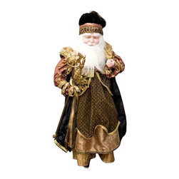 Winward Designs - Curiosity Standing Santa - A handsome santa figurine that is needed to complete your holiday decorations this year! Made of resin (head & hands) and premium fabrics.