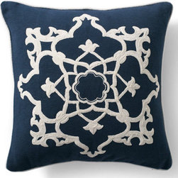 Grandin Road - Medallion Dori Throw Pillow - Each cover is made from finely ribbed, 100% cotton. Embellished with white corded trim. Hidden zipper for easy removal. Polyfill insert included. Spot clean. Reawaken your seating for a new season with crisp navy and soft white crewelwork with our Dori Throw Pillows. . . . . .