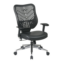 Office Star - Space Seating 88 EPICC Series Unique Self Adjusting Raven SpaceFlex Back & Black - Unique Self Adjusting Latte SpaceFlex  Back and Latte Mesh Seat Executive Chair. Self adjusting SpaceFlex  Backrest Support System with Breathable Raven Mesh Seat, One Touch Pneumatic Seat Height Adjustment, 2-to-1 synchro Tilt Control with Adjustable Tilt Tension Control, Height Adjustable Arms with Forward/Backwards Adjustable PU Pads, Polished Aluminum Base.