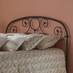 """FBG - Grafton Metal Headboard - The Grafton Headboard is a beautiful piece that will add style and class to any bedroom. The curvy designs of the headboard give this metal bed a soft feel. This headboard is offered in an attractive finish that will fit perfectly in any sleeping space. Features: -Linens and mattress are not included.-Rusty Gold finish.-Gloss Finish: No.-Upholstered: No.-Powder Coated Finish: Yes.-Hardware Material: Metal.-Non Toxic: Yes.-Scratch Resistant: No.-Adjustable Height: No.-Lighting Included: No.-Wall Mounted: No.-Reversible: No.-Hardware Finish: Rusty Gold.-Finished Back: Yes.-Distressed: No.-Hidden Storage: No.-Freestanding: No.-Frame Required: Yes.-Frame Included: No.-Drill Holes for Frame: Yes.-Collection: Grafton.-Swatch Available: No.-Eco-Friendly: No.-Product Care: Wipe with a clean, damp cloth.-Recycled Content: No.Specifications: -EPP Compliant: No.-CPSIA or CPSC Compliant: Yes.-ASTM Certified: No.-ISTA 3A Certified: Yes.-General Conformity Certificate: Yes.-Green Guard Certified: No.Dimensions: -Overall Height - Top to Bottom (Size: Twin): 52.25"""".-Overall Height - Top to Bottom (Size: Full): 52.25"""".-Overall Height - Top to Bottom (Size: Queen): 52.25"""".-Overall Height - Top to Bottom (Size: King): 52.25"""".-Overall Depth - Front to Back (Size: Twin): 1.25"""".-Overall Depth - Front to Back (Size: Full): 1.25"""".-Overall Depth - Front to Back (Size: Queen): 1.25"""".-Overall Depth - Front to Back (Size: King): 1.25"""".-Overall Product Weight (Size: Twin): 18 lbs.-Overall Product Weight (Size: Queen): 26 lbs.-Overall Product Weight (Size: King): 29 lbs.-Overall Product Weight (Size: Full): 24 lbs.-Top of Headboard to Bed Frame: 36"""".-Bottom of Headboard to Floor: 16"""".Assembly: -Assembly Required: Yes.-Tools Needed: Tools included.-Additional Parts Required: No.Warranty: -10 Years manufacturer limited warranty on brass, plated brass, painted metal or finished wood components."""