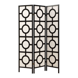 Monarch Specialties - Monarch Specialties 4619 3 Panel Folding Screen in Black - At a beautiful touch to your living space with this folding screen. Its elegant black frame accentuate the circle design and your decor. Place it in your bedroom or living room, as a divider or simple accent piece. It is a definite eye-catcher.
