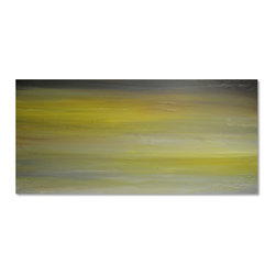 Large Yellow & Gray Original Seascape Abstract Canvas Contemporary/Modern Painti - Yellow, Taupe, and Gray Abstract Seascape Landscape Acrylic Painting on Canvas - by Gina Perillo
