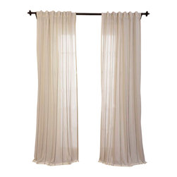 """Exclusive Fabrics & Furnishings - Aruba Gold Striped Linen Sheer Curtain - SOLD PER PANEL . 84% Polyester 12% Rayon 4% Linen .3"""" Pole Pocket with Hook Belt & Back Tabs . Stripe Color(s)- Gold .Dry Clean Only ."""