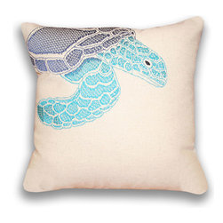 Thro - Ombre Sea Turtle 16-inch Square Pillow 16 -inches - Adorn your bed or couch with this stylish 16-inch pillow. This pillow features an ombre turtle pattern in the colors of green and blue. Equipped with a hidden zipper and covered in a faux-linen cover, this piece is sure to complement your home decor.
