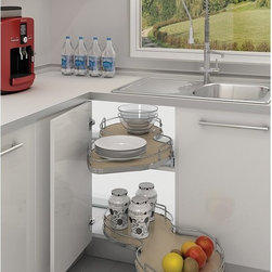 Rev-A-Shelf - Rev-A-Shelf Chrome Cloud Single Tier Blind Corner Organizer - R537140GRL - Shop for Dish and Sink Racks from Hayneedle.com! Don't let kitchen tools and stray boxes of pasta go unused and forgotten at the back of your corner cabinet. Install the Rev-A-Shelf Chrome Cloud Single Tier Blind Corner Organizer and make sure every inch is accessible and organized. This single tier shelf features a oblong design bordered with a chrome rail and featuring a smooth-glide bottom mount track system that can be installed for left- or right-hand justified cabinets. The shelf is available in either a rich gray or handsome maple. Two size options are available to choose from either a 27- or 31-inch long piece. Dimensions: 27.875L x 18.5W x 5.625H inches; 31.94L x 19.187W x 5.625H inches. Colors and sizes subject to availability.About Rev-A-ShelfRev-A-Shelf a Jeffersontown Kentucky-based company has been dedicated to the creation of innovative useful residential cabinet storage and organization products since 1978. The company manufactures a wide variety of functional products such as lazy susans kitchen drawer organizers and childproof locking systems. A global market leader Rev-A-Shelf is known for its superior quality and versatility.