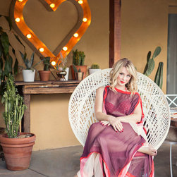 Heart for Hart - Heart Marquee Light featuring reclaimed wood, commercial grade faux Edsion light bulbs, vintage cloth cord and automotive metal for Jamie Brooks of Fiore.