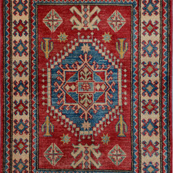 """ALRUG - Handmade Red/Rust Oriental Kazak Rug 2' 11"""" x 4' 2"""" (ft) - This Afghan Kazak design rug is hand-knotted with Wool on Cotton."""
