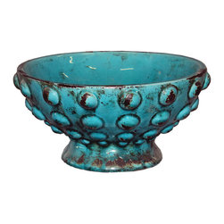Blue Glazed Bowl - Contemporary Moroccan blue vase with raised bubble design.