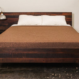 Industrial Loft - Nuevo Living Andrew Queen Bed in Reclaimed Wood with Cast Iron Base @ http://www.dynamichomedecor.com/Nuevo-HGDA251.html