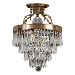 Crystorama - 3-Lights Semi Flush Accented with Hand Cut Crystal - Solid cast ornate semi flush accented with hand cut crystal.