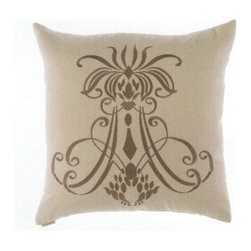 "Canaan - 24"" x 24"" Insignia Linen Damask Fleur De Li Pattern Print Fabric Throw Pillow - 24"" x 24"" Insignia linen damask fleur de li pattern print fabric throw pillow with a feather/down insert and zippered removable cover. These pillows feature a zippered removable 24"" x 24"" cover with a feather/down insert. Measures 24"" x 24"". These are custom made in the U.S.A and take 4-6 weeks lead time for production."