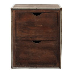 Home Decorators Collection - Kameron File Cabinet - The Kameron File Cabinet is the organizational piece you've been searching for to complete your home office design. Solidly constructed of reclaimed wood, this distressed, handcrafted file cabinet offers two drawers with scoop cutout handles for all of your filing needs. Handcrafted of iron and reclaimed wood with a rustic walnut finish. Holds letter- and legal-sized documents.