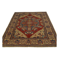 5'x7' Hand Knotted Kazak Oriental Rug 100 Percent Wool Tribal Design Sh18592 - Our Tribal & Geometric hand knotted rug collection, consists of classic rugs woven with geometric patterns based on traditional tribal motifs. You will find Kazak rugs and flat-woven Kilims with centuries-old classic Turkish, Persian, Caucasian and Armenian patterns. The collection also includes the antique, finely-woven Serapi Heriz, the Mamluk Afghan, and the traditional village Persian rug.