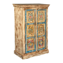 Sierra Living Concepts - Rustic Hand Carved Mango Wood Rustic 2 Door Armoire Cabinet - Delicate details and a rustic finish combine in our Hand Carved Flower Panels Cabinet. This solid wood two door cabinet stands directly on the floor and opens onto a dark stained three shelf cupboard.