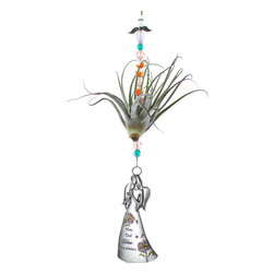 Spirit Pieces - Inspirational Angel Gift Ornament 'May God Bless You Always' with Tillandsia - This is a great inspirational gift for any age.  This living Tillandsia Air Plant comes with a Angel Suncatcher with the words 'May God Bless You Always.'  Comes with clear and orange beading (can be customized) and a crystal angel top-piece.