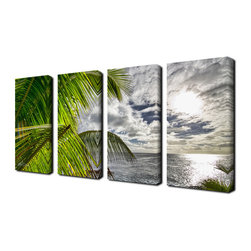 Ready2HangArt - Ready2hangart Chris Doherty 'Island Balance' 4-piece Canvas Wall Art - The 'Island Balance' 4-piece canvas art set depicts the sun bursting through the clouds onto the sea creating a balance between land and sea. This 4-piece set features a tropical theme and is gallery-wrapped canvas for a contemporary look.