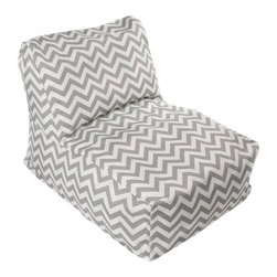 HRH Designs - Indoor/Outdoor Beanbag Lounger, Gray Chevron - Indoor/outdoor beanbag lounger. Removable washable cover. Water resistant. Chair can be refilled when needed.