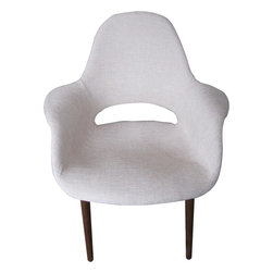 George Nelson - Wood Dining Fabric Chair in White - Fabric seat. Wooden legs. 28.7 in. W x 25.6 in. D x 33.5 in. H. Weight: 11 lbs.
