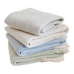 Nantucket Looms - Nantucket Looms Handwoven Cotton Throw - Our Handwoven Cotton Throw is the perfect accompaniment to help you transition from an afternoon at the beach to a casual outdoor dinner to an evening of star-gazing in the sea air.