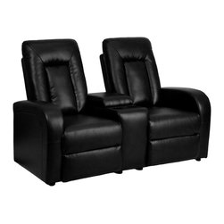 Flash Furniture - Flash Furniture Theater Seating Black Leather Theater Seating X-GG-KB-2-95207-TB - Complete your theater room with this comfortable theater style seating. The soft leather will keep you comfortable as you sit down with friends and family for movie night or while playing video games. You can setup as many rows as needed to fill up your desired space. The push back recline allow users to set their own recline to their own comfort. [BT-70259-2-BK-GG]