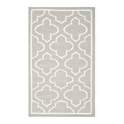"""Safavieh - Montague Dhurrie, Grey / Ivory 2'6"""" X 4' - Construction Method: Hand Woven Flat Weave. Country of Origin: India. Care Instructions: Vacuum Regularly To Prevent Dust And Crumbs From Settling Into The Roots Of The Fibers. Avoid Direct And Continuous Exposure To Sunlight. Use Rug Protectors Under The Legs Of Heavy Furniture To Avoid Flattening Piles. Do Not Pull Loose Ends; Clip Them With Scissors To Remove. Turn Carpet Occasionally To Equalize Wear. Remove Spills Immediately. The classic geometric motifs of Safavieh's flat weave Dhurrie Collection are equally at home in casual, contemporary, and traditional settings. We use pure wool to best recreate the original texture and soft colorations of antique dhurries prized by collectors. The Dhurrie weave is native to India, and every step in our production process faithfully follows the traditions of local artisans. The results are natural, organic and with wonderful nuances in pattern and tone."""