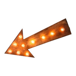 Point it Out Marquee - Whether you're partying at an event or relaxing at home, show 'em where they can find the big show. This fun, old-fashioned marquee sign points to good times with 10 retro round bulbs set into a handmade wooden arrow.