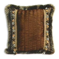 """CCCC-P-878 - Tahiti Chocolate Tufted Pattern Print 20"""" x 20"""" Throw Pillow with Tassel Bead - Tahiti chocolate tufted pattern print 20"""" x 20"""" throw pillow with tassel bead trim. Measures 20"""" x 20"""" made with a blown in foam and also available with feather down inserts at additional costs, search for down insert upgrade to add the up charge to your order. These are custom made in the U.S.A and take 4- 6 weeks lead time for production."""