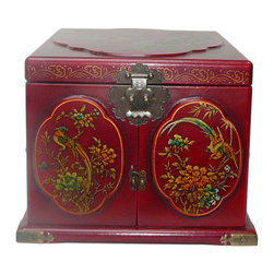 Golden Lotus - Chinese Red Flower Bird Mirror Drawers Storage Box - This jewelry / storage accent box is modified from the traditional Chinese box. It is made of cardboard paper and covered with artificial leather.