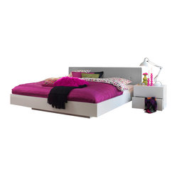 Float Queen Size Bed with Upholstered Headboard