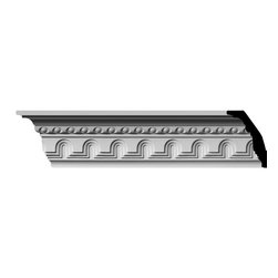 "Ekena Millwork - 4 3/8""H x 2 /8""P x 5 1/4""F x 96""L, (2"" Repeat) Heaton Crown Moulding - 4 3/8""H x 2 /8""P x 5 1/4""F x 96""L, (2"" Repeat) Heaton Crown Moulding. Our beautiful panel moulding and corners add a decorative, historic feel to walls, ceilings and furniture pieces- They are made from a high-density urethane which gives each piece the unique details that mimic that of traditional plasting and wood designs but at a fraction of the weight- This means a simple and easy installation for you- The best part is that you can make your own shapes and sizes by simply cutting the moulding pieces down to size and then butting them up to the decorative corners- These are also commonly used for an inexpensive wainscot look-Features- Modeled after original historical patterns and designs-- Constructed from solid urethane for maximum durability and detail-- Lightweight for quick and easy installation-- Factory-primed and ready for paint or faux finish-- Can be cut, drilled, glued and screwed-- Designed for use on both interior and exterior applications-- Material- Urethane"