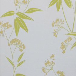 Bijou Coverings - Modern Floral Print Wallpaper, Green - Bijou Coverings wallcoverings can transform a room quickly and easily.  In today's world, wallpaper is the hip new approach to cover your walls, a way to express your individuality and personal taste.   Its so versatile; you can wallpaper all four walls, accent wall, the ceiling or create a large over scaled piece of artwork by framing it.  With patterns that go from formal to fresh , raise textures, and modern palettes as well as fanciful floral trail patterns. We have an option for all tastes.  Our wallcoverings have a washable vinyl coating applied to the surface for stability and ease of use.