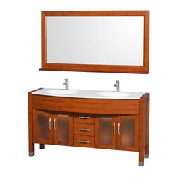 Wyndham Collection - 60 in. Contemporary Bathroom Vanity Set - Includes two sinks, white man-made stone top, matching mirror, drain and P-traps for easy assembly. Faucets not included. White integral sinks. Unique and striking contemporary design. Four doors and three drawers. Fully extending side-mount drawer slides. Deep doweled drawers. Doors with fully framed glass inserts and back paneling. Soft-close concealed door hinges. Single-hole faucet mount. Metal hardware with brushed chrome finish. Plenty of storage space. Brushed steel leg accents. Practical floor-standing design. Twelve-stage wood preparation, sanding, painting and finishing process. Highly water-resistant low V.O.C. sealed finish. Pre-drilled for single-hole faucet. Top thickness: 0.75 in.. Warranty: Two years limited. Made from environmentally friendly, zero emissions solid oak hardwood. Cherry finish. Minimal assembly required. Door: 11 in. W x 18 in. H. Drawer: 11 in. W x 6 in. H. Mirror shelf: 5 in. deep. Mirror: 60 in. W x 32 in. H (58 lbs.). Vanity: 60 in. W x 22 in. D x 33.5 in. H (150 lbs.). Handling Instructions. Installation Instructions - Vanity