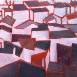 Rooftops (Original) by Nikki Galapon - I referenced a photo of the rooftops in an Italian hill town.
