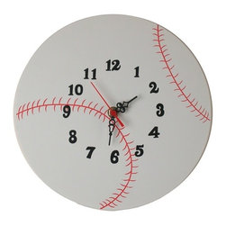 Danya B - Large White Baseball Sports Design Wall Mount 12 Hour Clock - This gorgeous Large White Baseball Sports Design Wall Mount 12 Hour Clock has the finest details and highest quality you will find anywhere! Large White Baseball Sports Design Wall Mount 12 Hour Clock is truly remarkable.