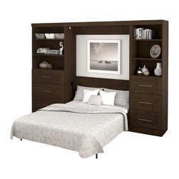 Bestar - Bestar Pur Full Size Wall Bed in Chocolate - Bestar - Beds - 2618069