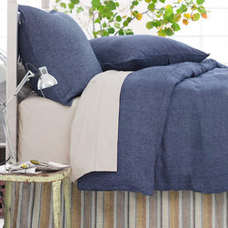 Pine Cone Hill - chambray linen ink decorative pillow (15x35) - The chambray linen duvet covers, shams and decorative pillowsare a rich, color-drenched linen that is machine-washable and available in 6 versatile solid colors. Duvets and shams feature knife edge, hidden-button closure.��This item comes in��ink.��This item size is��35w 15h.