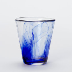 Cobalt Watercolor Glass - I love the cooling effect of the dark blue on these glasses.