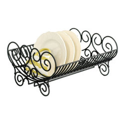 Iron Dish Rack - Hand forged from iron, you won't mind displaying this dish rack on your counter.  Even when not loaded down with dishes, it will work hard adding a decorative, nostalgic feel to your kitchen.