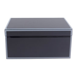 WOLF - Large Glass Jewelry Box, Black - The Royal collection is a handsome assortment of glass jewelry boxes in rich, saturated hues. Black has been applied to the underside of the glass for a heightened sense of depth, and the bevelled edges are treated in a similar fashion with gray for contrast.