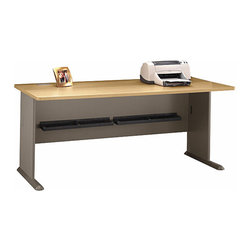 Bush Business - 72 in. Desk in Light Oak - Series A - This light oak colored desk will not only look great in your home office, but it gives off a studious feel as well.  Add on an over head hutch to store books, a pencil drawer, and a sliding keyboard shelf, and you'll be working in a comfortable, organized environment that is perfect for the student or home office.  Save big on a classic and spacious desk with a clean modern look.  Our 72 Desk is finished in very handsome scratch-resistant light oak.  Add an overhead hutch and a pencil drawer as well as a sliding keyboard shelf and you are ready for business. * Save big on a classic and spacious desk with a clean modern look. Our 72 Desk is finished in very handsome scratch-resistant light oak. Add an overhead hutch and a pencil drawer as well as a sliding keyboard shelf and you are ready for business. 71.535 in. W x 26.811 in. D x 29.764 in. H