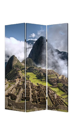 Screen Gems - Screen Gems Machu Picchu Screen - This is a 3 panel screen printed on canvas. The screen is two sided with different and complementary images on each side. It is light weight and very easy to move. The screen also has inspirational wall decor applications.
