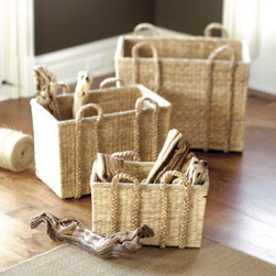 Suzanne Kasler Market Baskets - Hand woven of natural water hyacinth, these sturdy market baskets can hold anything from magazines to knitting.